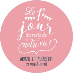 "Autocollant personnalisé mariage ""Day One"""