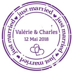 "Autocollant personnalisé ""just married"""
