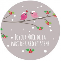 "Sticker personnalisé Noël  ""birdies in snow"""